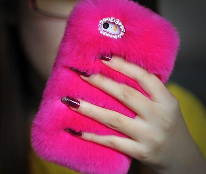 Caja peluda del teléfono de Bling de la moda de lujo de la piel real mullida del conejo para Iphone6 / 6s 4.7