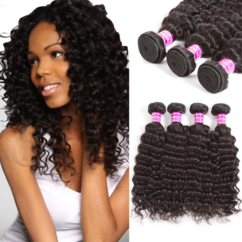 Daliy Deal Peruanisches Malaysisches mongolisches lockiges Haar-Produkt-brasilianisches Jungfrau-Haar-tiefe Welle 4 Bündel pro Los Menschenhaar-Webart keine Verwicklung
