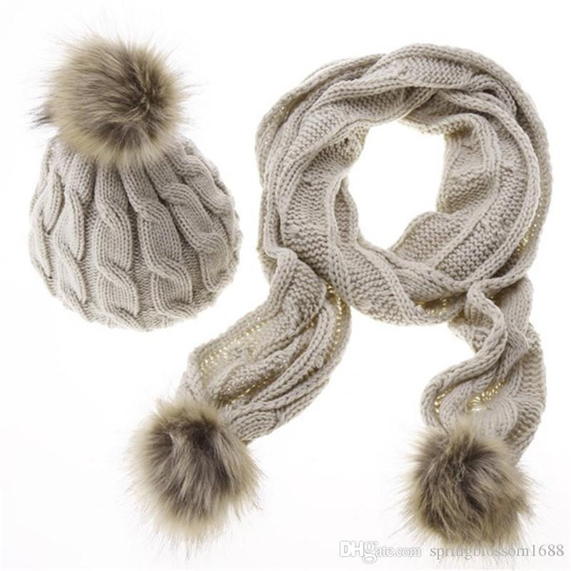 Großhandel 2017 Neue Winter Warme Frauen Mode Gestrickte Schal Hut ...