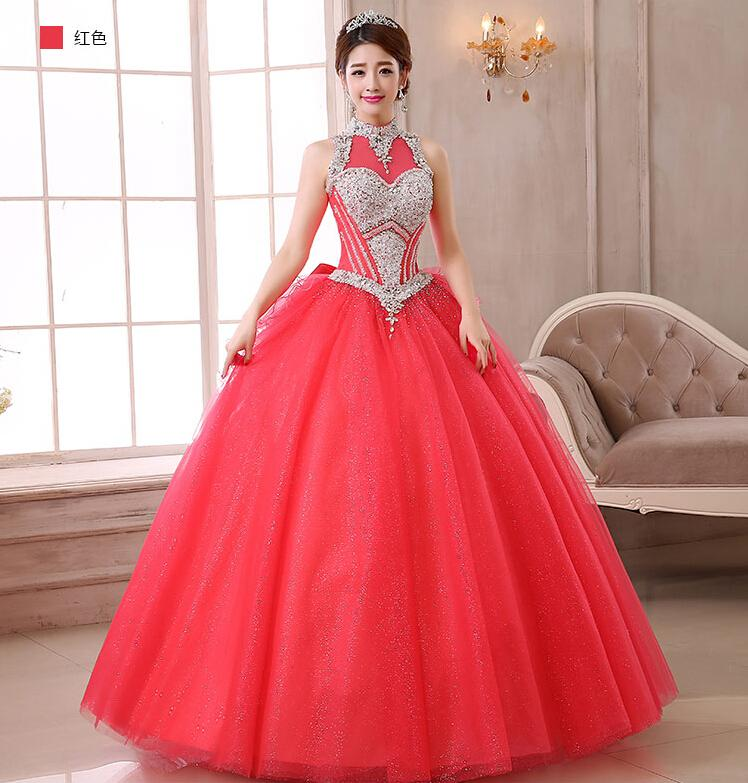 2015 Vintage Cheap Red Quinceanera Dresses Halter Beading Corset ...