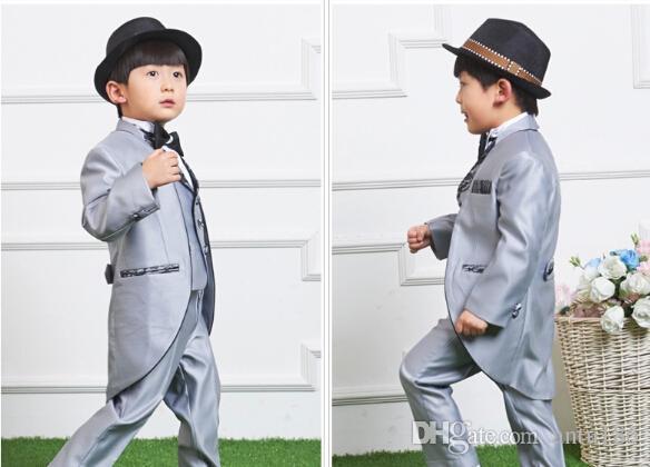 Boy's suit flower wedding suit children dress tuxedo formal clothes boy birthday party dress jacket+pants+vest+tie Custom made