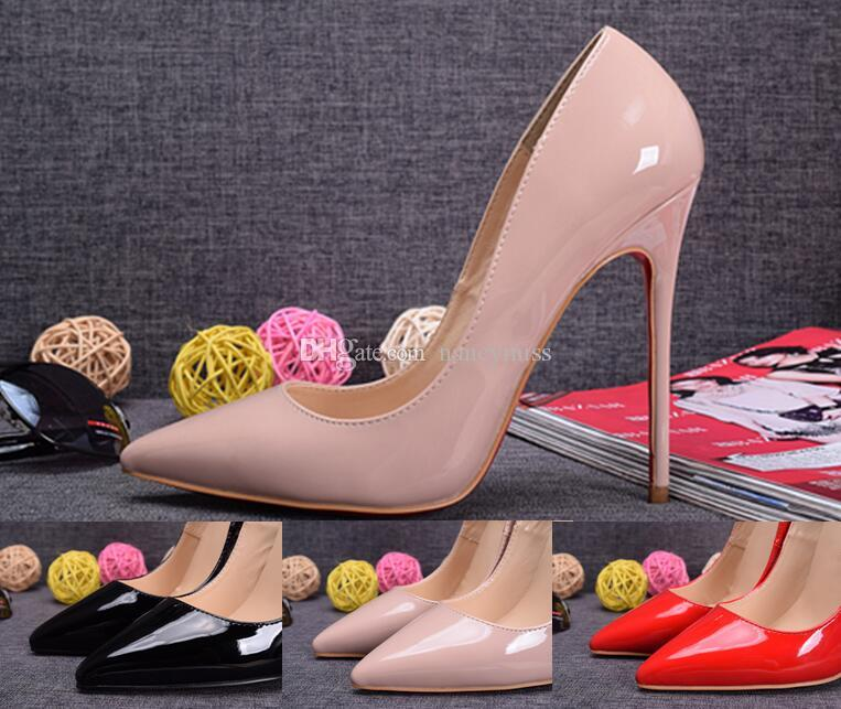 986086d9a5 Nude Patent Leather Pointed Toe Stiletto Heel Womens Pumps,120mm ...