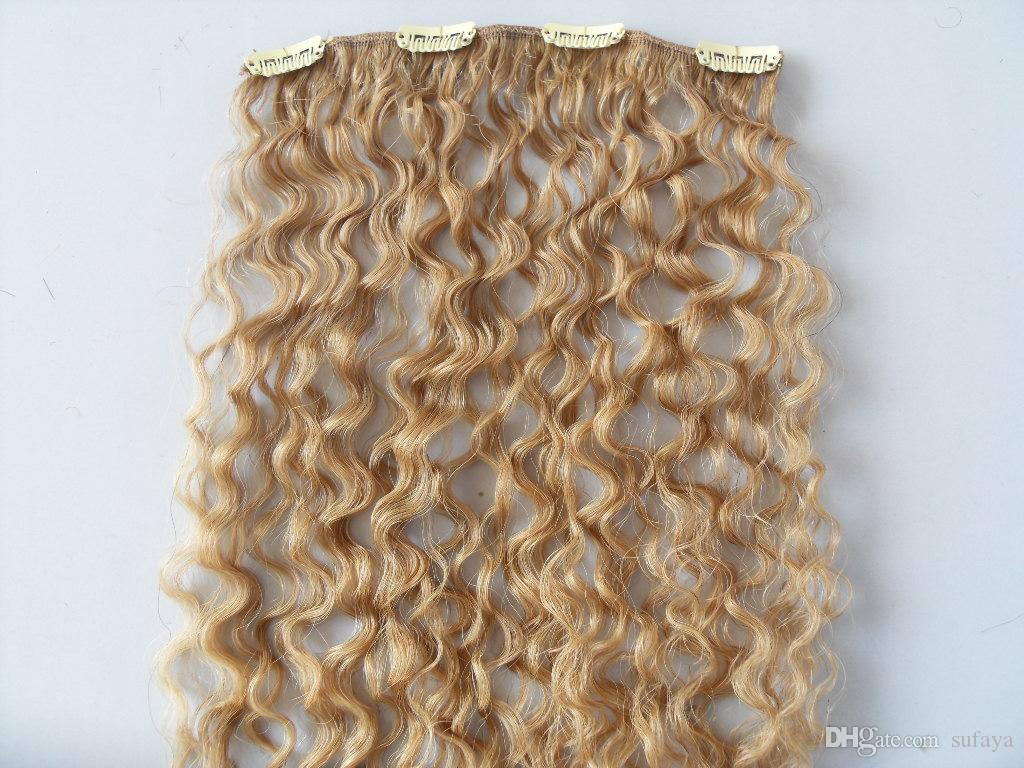 mongolian curly hair weft clip in natural kinky curl weaves unprocessed virgin remy blonde human extensions
