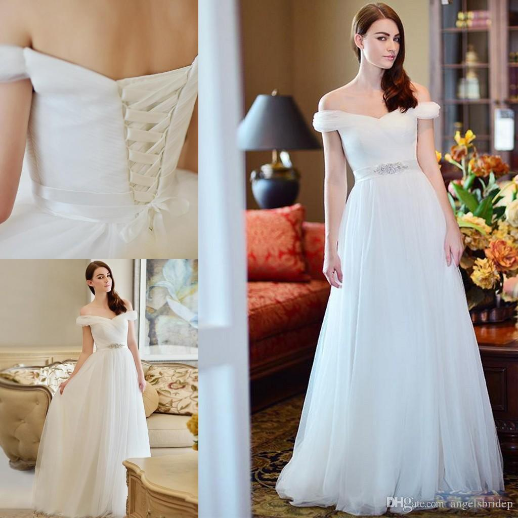 Discount Very Simple But Elegant Off Shoulder Wedding Dress A Line Bridal  Gowns Ribbons Beads Open Back Lace Up Floor Length White Tulle Bride Dress  Wedding  Discount Very Simple But Elegant Off Shoulder Wedding Dress A Line  . Off The Shoulder A Line Wedding Dresses. Home Design Ideas