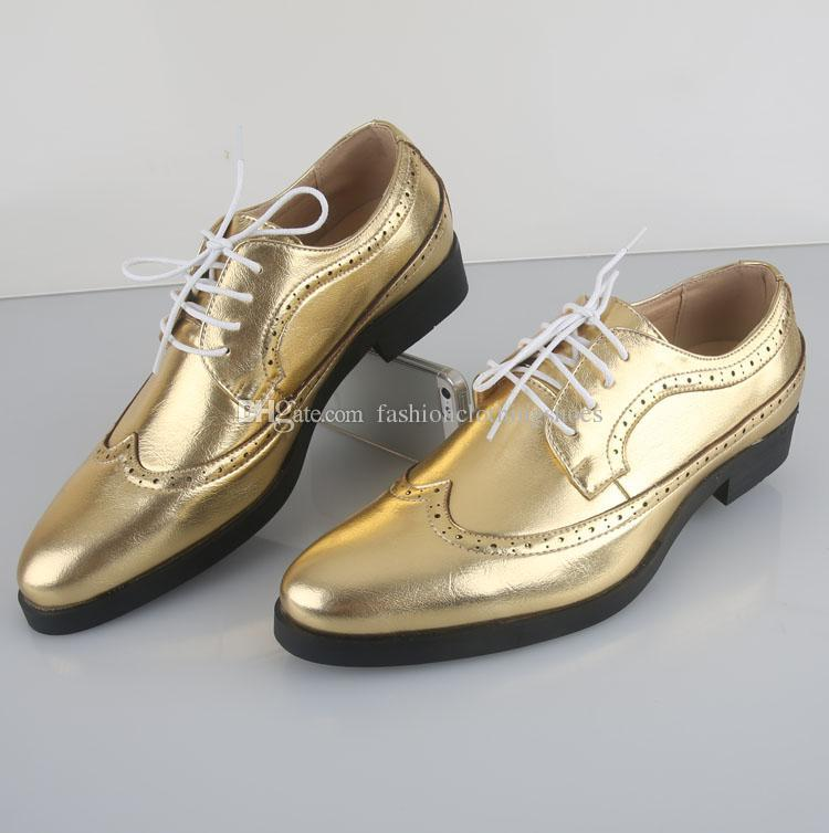 Men\'s Gold Leather Lace-up Shoes Fashion Leisure Business Wedding ...