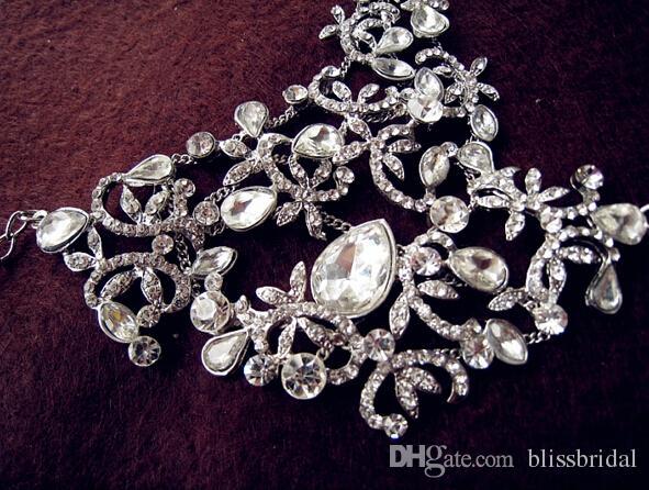 Perfekte Brauthand Charme Armbänder Kristall Perlen Schmuck Hochzeit Braut Accessoires Handkette Mit Ringen Freies Verschiffen