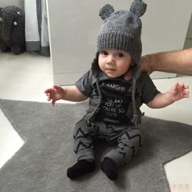 2018 Sommer Stil Babykleidung Babykleidung sets Junge Baumwolle kleine Monster Kurzarm Anzug Baby Jungen Kinder Kleidung LH16