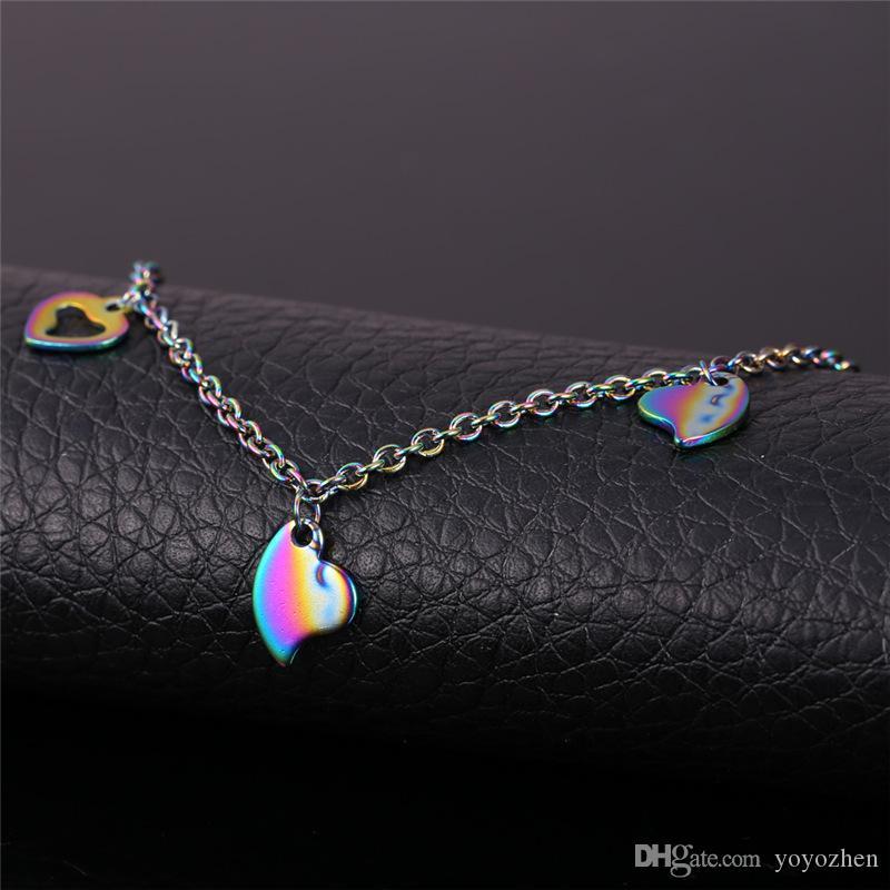 Cadena de acero inoxidable 316L tobillo de las mujeres de la joyería regalo romántico del pie de la sandalia de la joyería del amor del corazón pulsera tobillera