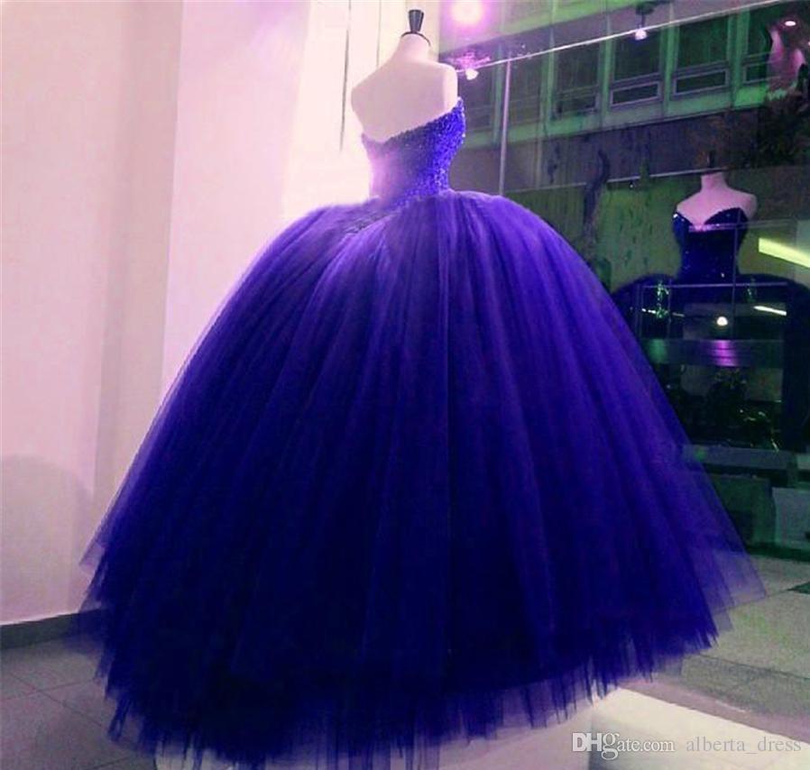 Totalmente De Cristal Frisado Espartilho Corpete Azul Royal vestido formal Vestidos de Baile Brilhante Nupcial Vestido longo de Quinceanera Vestidos vestidos de noite