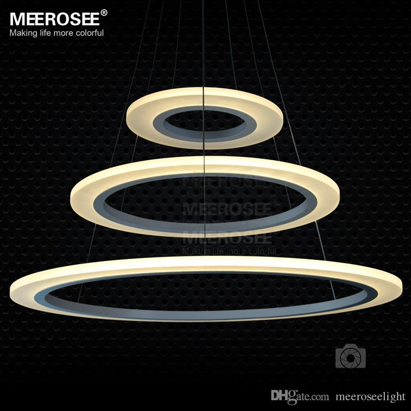 Discount 3 Rings Circles Modern Led Chandelier Pendant Lights Lighting For Dining Room White Acrylic Lamp Contemporary Ceiling Light Fixtures