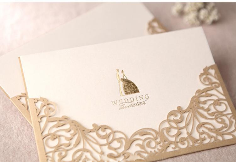 Gold Wedding Invitations Vintage Hollow Lace Laser Cut Printable Cards Blank Card 170115mm Favors Create Your Own