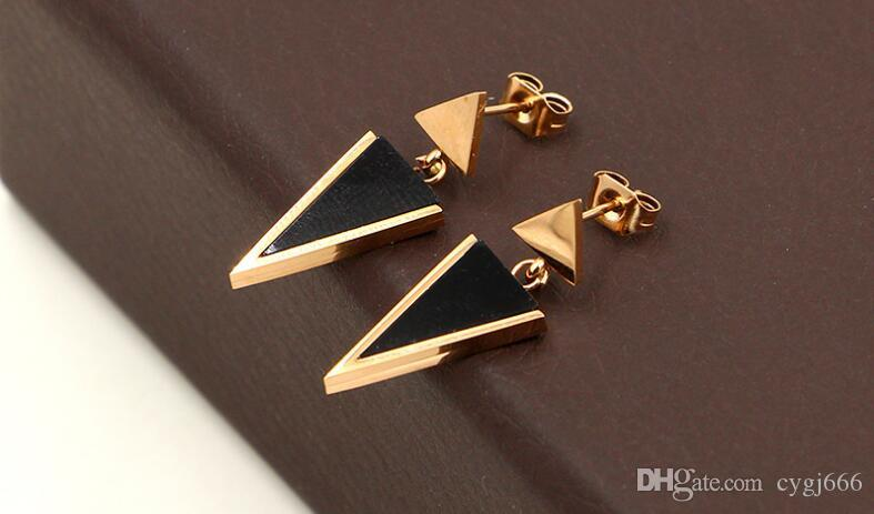 New Korean version of the triangular hanging black triangle nail titanium steel plated rose gold earrings girls fashion wild earrings