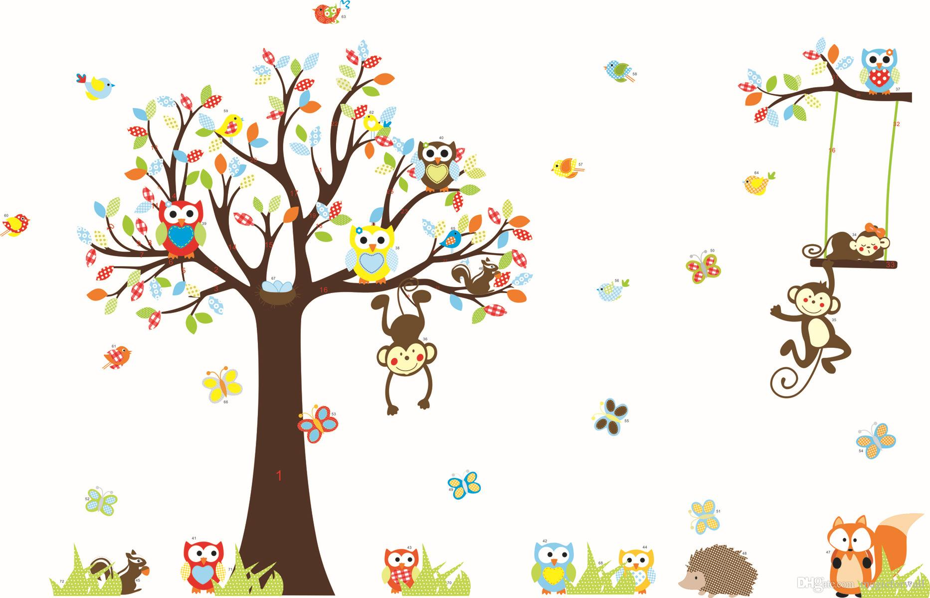 Hot Sale Monkey Owls Squirrel Forest Wall Art Mural Decor Sticker Kids Room Nursery Wall Decoration Decal Poster