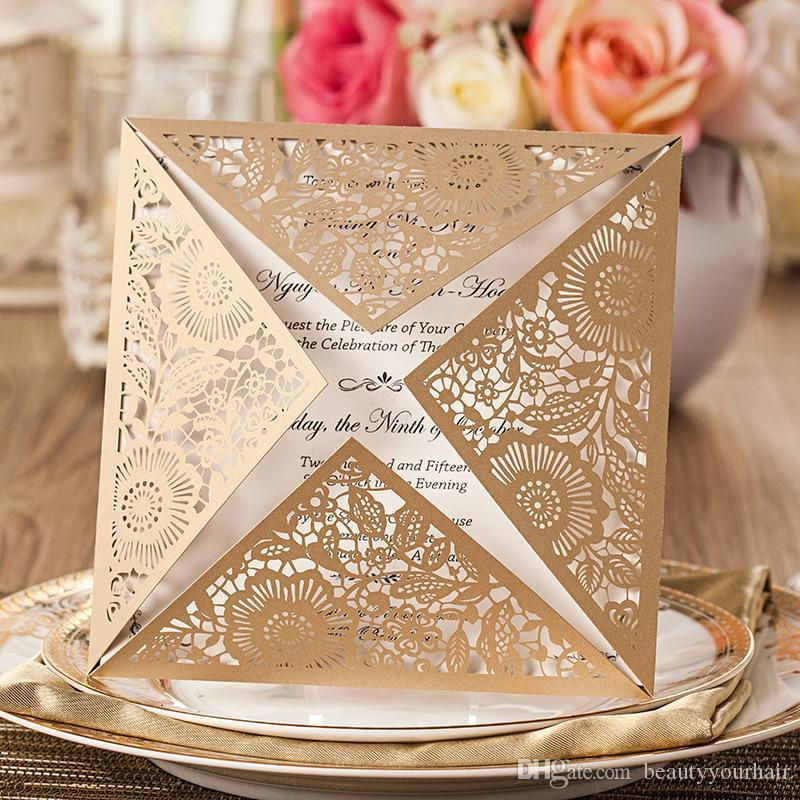 Hot Sale Luxury Design Customized Laser Cut Wedding Invitations Gold