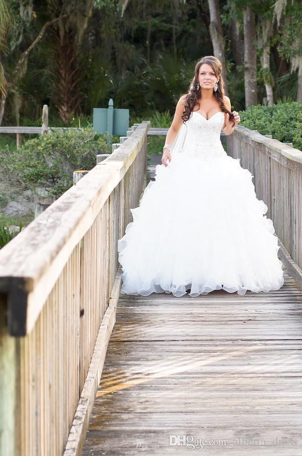 Bling Sweetheart Bola vestido de boda Vestidos de novia Organza país estilo occidental vestido de novia con cuentas de cristal vestidos nupciales reales de alta calidad