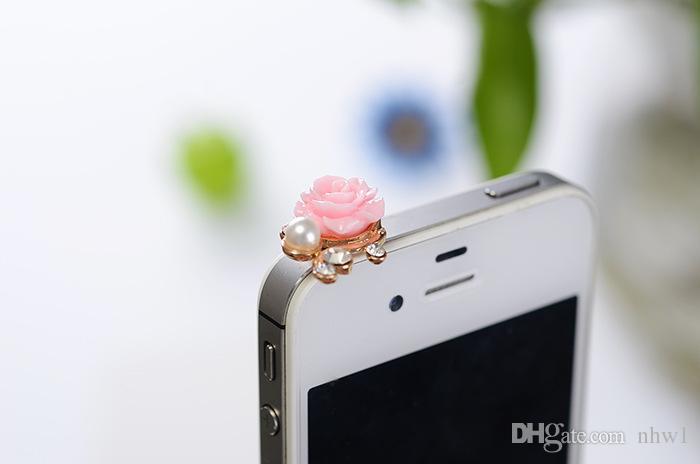 Sıcak İnci Güller Toz Geçirmez Kulaklık Jack Fişler Cep Telefonu Cep Cep Telefonu için Çiçek Anti Toz Fiş iPhone6 5 4 4 S