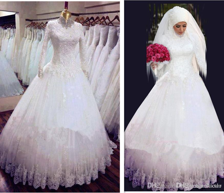 2016 Vintage Lace Muslim Wedding Dresses High Neck Long Sleeve Beaded Tulle Hijab Arabic Bridal Gowns Custom Made Sale With