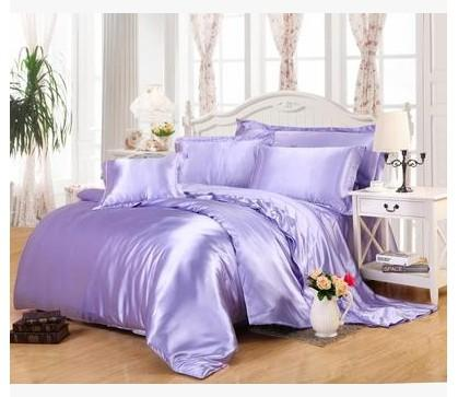 light purple lilac bedding sets super king size queen full twin fitted silk satin sheet duvet cover bedspreads bed in a bag white duvet cover king quilt - Liliac Bedding