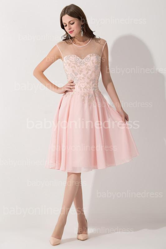 Cute Party DressesModernPink Chiffon Short Mini 2015 Cocktail Dresses Keen Length Sheer Beading Crystals Formal Prom Evening Dresses BZP0403