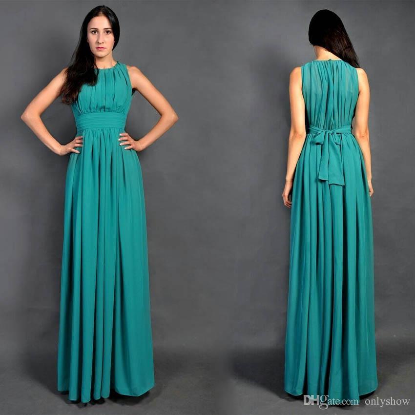 Cheap Long Turquoise Chiffon Beach Bridesmaid Dresses Formal Back