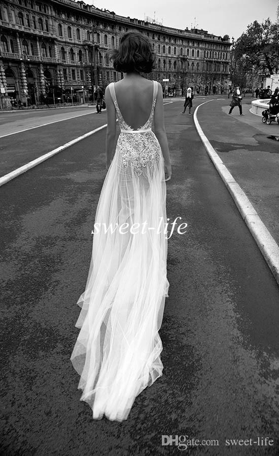 Chic Backless Wedding Dresses Sheath Deep V Neck Sash Vintage Lace Tulle 2019 Liz Martinez Sexy Bohemia Summer Beach Wedding Bridal Gowns
