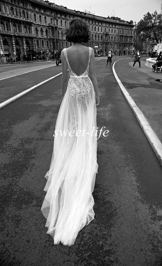 Schicke rückenfreie Brautkleider Mantel tiefem V-Ausschnitt Schärpe Vintage Spitze Tüll 2019 Liz Martinez Sexy Böhmen Sommer Strand Hochzeit Brautkleider