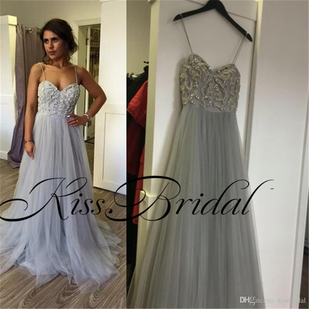 Grey Prom Dresses Silver Crystal Beading Formal Evening Gowns A Line Spaghetti Straps Floor Length Tulle Formal Party Gowns
