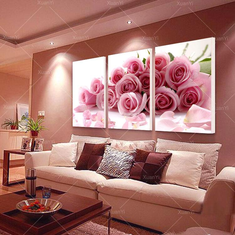 2018 Pink Rose Home Decorative Canvas Painting Living Room Paint ...
