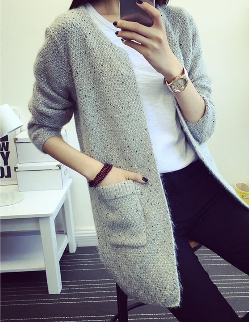 2018 Fashion Korean Style Fine Long Sweater Coat Loose Sweater ...