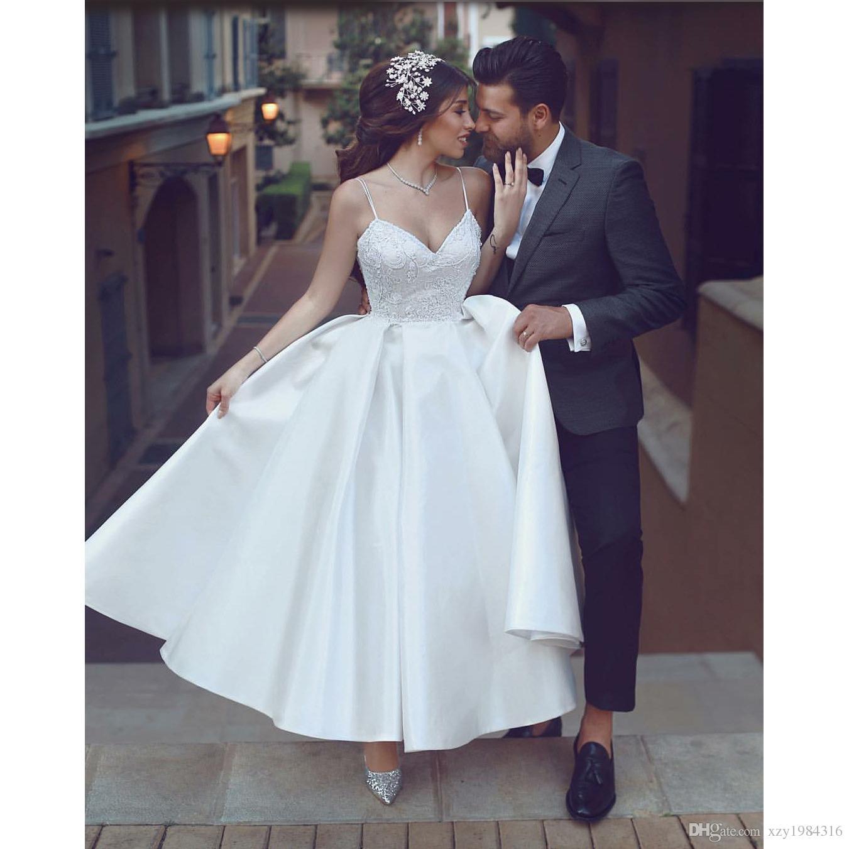 cc6fe155b265 Acquista Abito Da Sposa Corto Alla Caviglia Abito Da Sposa Bianco Senza  Bretelle Applique Senza Spalline Abito Da Sposa In Raso Said Mhamad Abito  Da Sposa ...