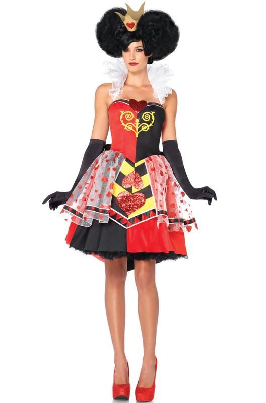 Deluxe Queen Of Hearts Women Halter Dress Villains Halloween ...