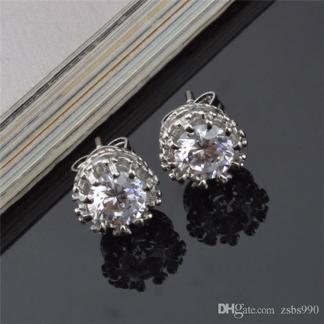 2015 nouveau design en argent sterling 925 cz diamant couronne goujons de la mode bijoux beau mariage / engagement cadeau livraison gratuite