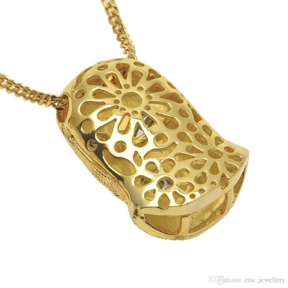 Хип-хоп CSGO кулон ожерелье мужские панк-стиль 18k сплава золота посеребренные Маска глава Шарм кулон высокое качество кубинской цепи