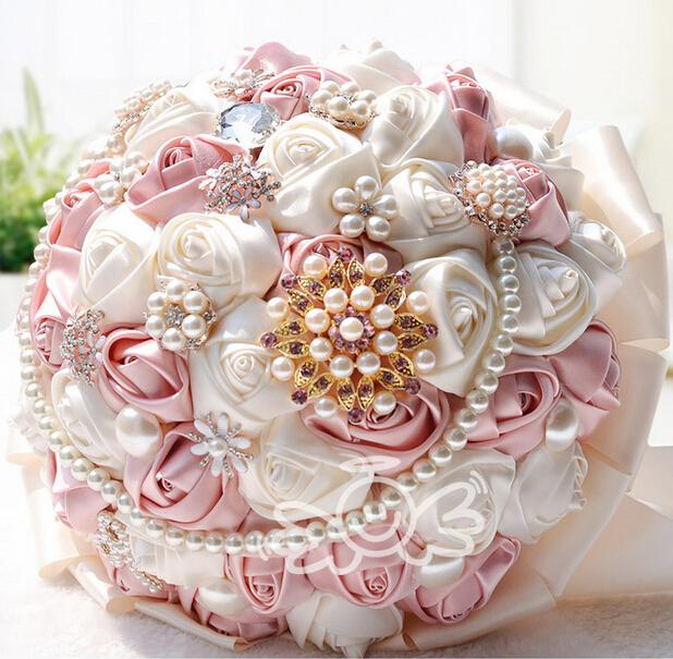 Bridal Bouquets 2015 Bride Holding Flowers Handmade Ribbon