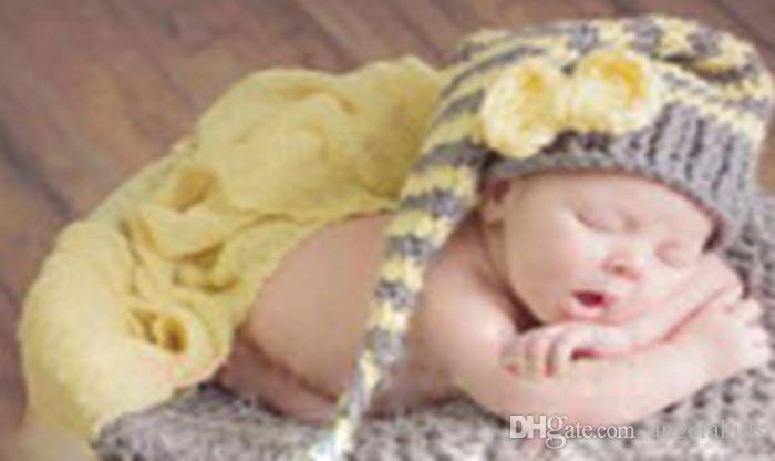 الوليد التصوير الكروشيه الأطفال التصوير ملابس الطفل الملابس دليل الحياكة قبعة ذيل طويل دعوى للبنين بنات رمادي أصفر