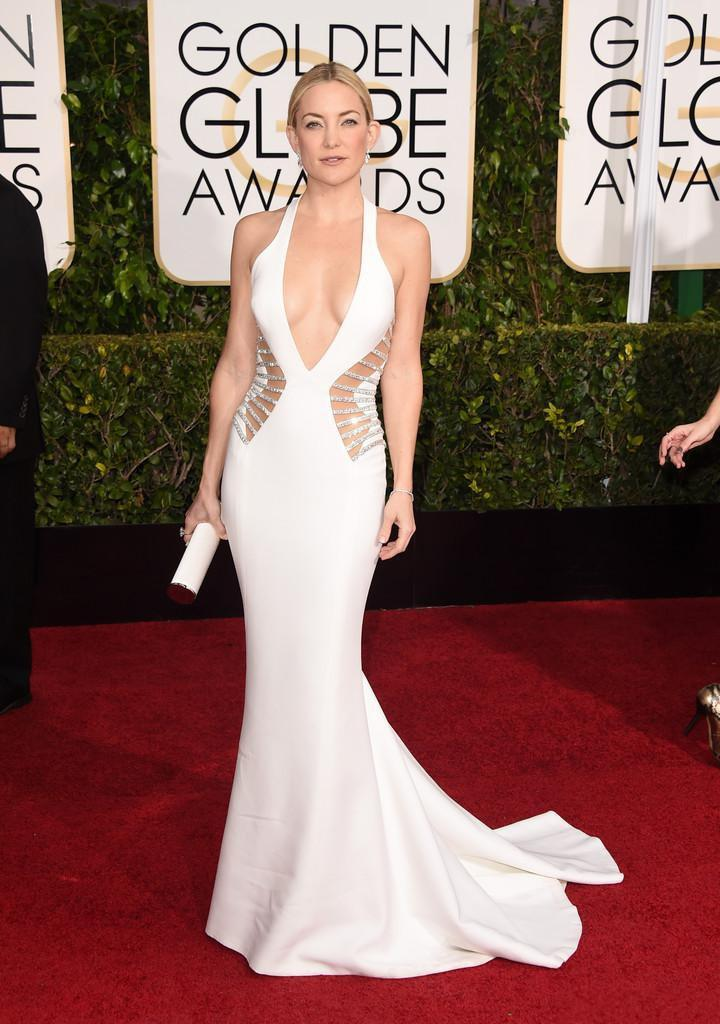 Kate Hudson Sexy Celebrity Dresses 2015 72nd Golden Globe Awards White Mermaid Satin Aftonklänningar Hot Backless Red Carpet Dress Custom Made