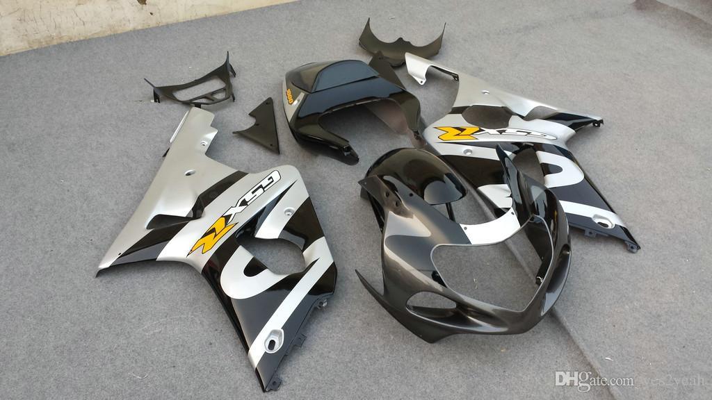 Wróżki nadwozie 2000 2001 2002 SUZUKI GSXR1000 GSX R1000 K2 00 01 02 GSXR 1000 Srebrny Czarny Body Kit + Prezenty SM88