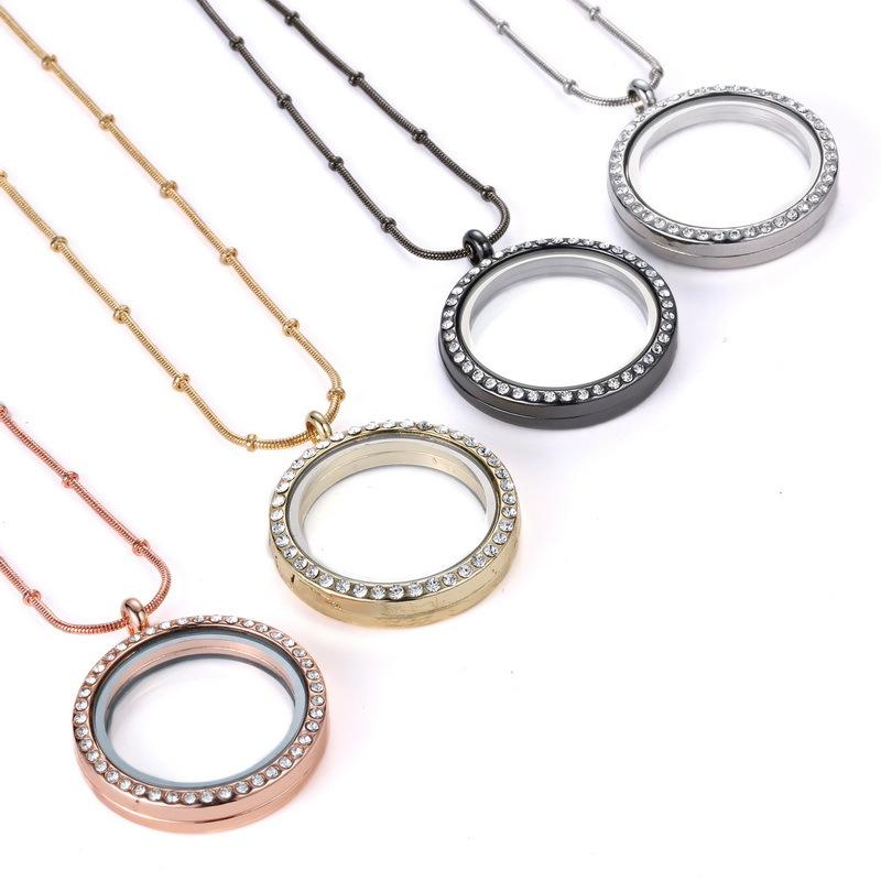 Rose Gold Silver DIY Glass lockets Necklaces with crystal 30mm Circle magnetic floating charm locket pendants snake chains
