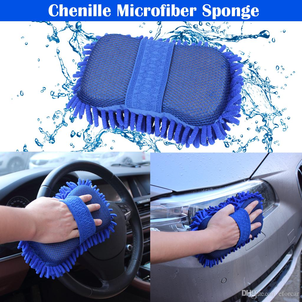 Car Washing Sponge Glove Microfiber Chenille Sponge Washer Towel Duster Motorcycle Truck Cleaning Cloth Tool Home Window Desk Dust Cleaing