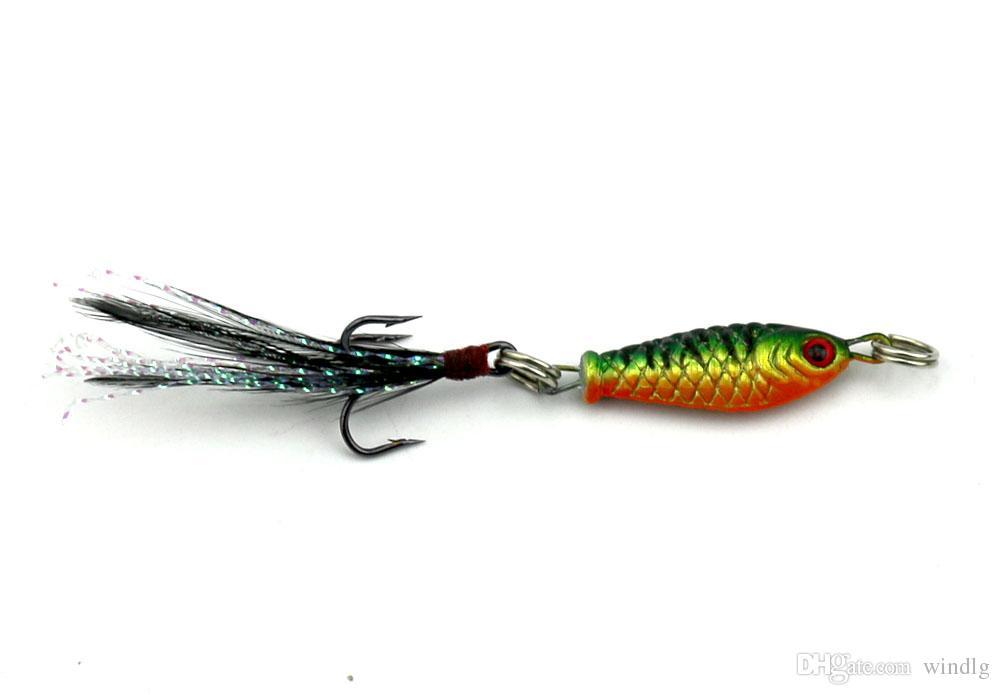 Hengjia 50st / bly bete 6g 8cm Färgglada Fiske Lures Crappies Fiske Tackle Metal Bait Feather Hook 64g 4 Färger