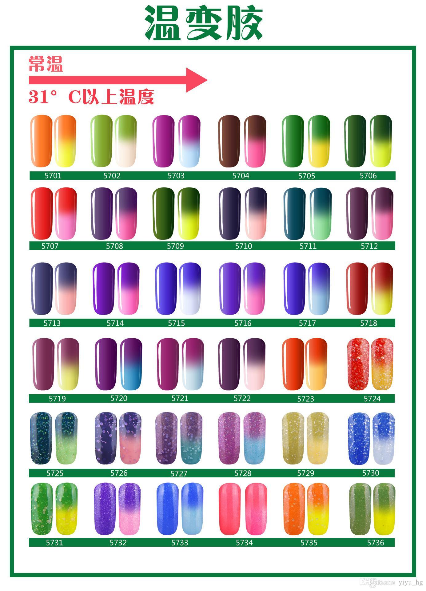2015 Hotest Temperaturänderung gel UV LVMAY Chameleon 36 farben gel polnisch Nail Art Soak Off Lacke gel 12 ml