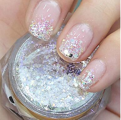 Wholesale Flicker Whitemixed Glitter Powder Hexagonal Glitter