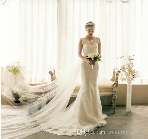 Modest Lace Wedding Abiti da sposa Mermaid Jewel Senza maniche Eyelash Pizzo Appliques Rucchizzato Tulle Rucchizzato Lace Up Back Abiti da sposa con treno scorrente