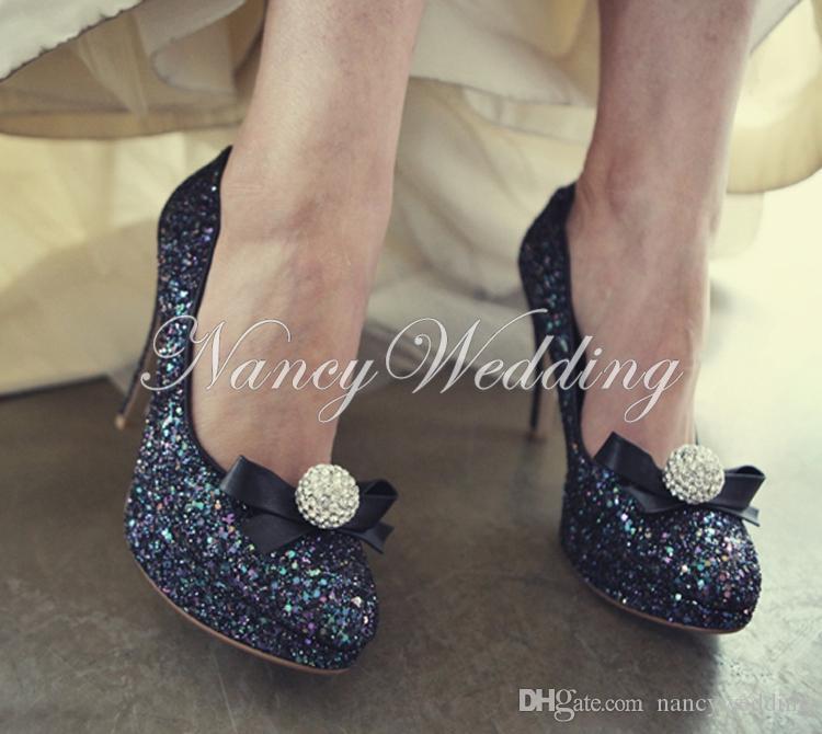 Chaussures de soirée et de mariage pour femmes Luxe Or strass Bout rond Talons de mariée Chaussures de bal
