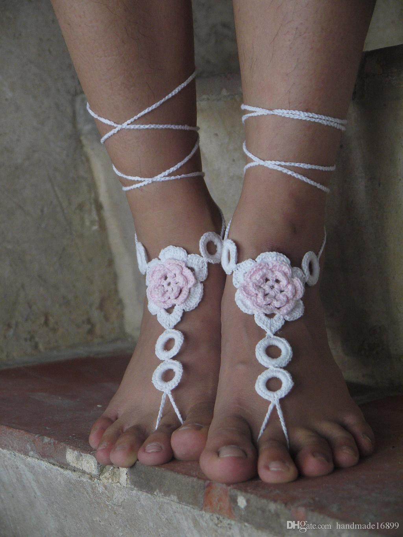 Vintage hand hook flower, crochet barefoot sandal,Crochet shoes sandal,Wedding barefoot sandal,Beach shoes,Bridesmaid barefoot,Foot thongs