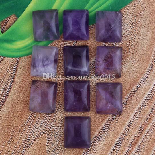 12x10mm Fashion Amethyst Opal etc Natural Stone Rectangle Beads Cabochon Bead Jewelry Findings Accessories Diy Jewelry Making