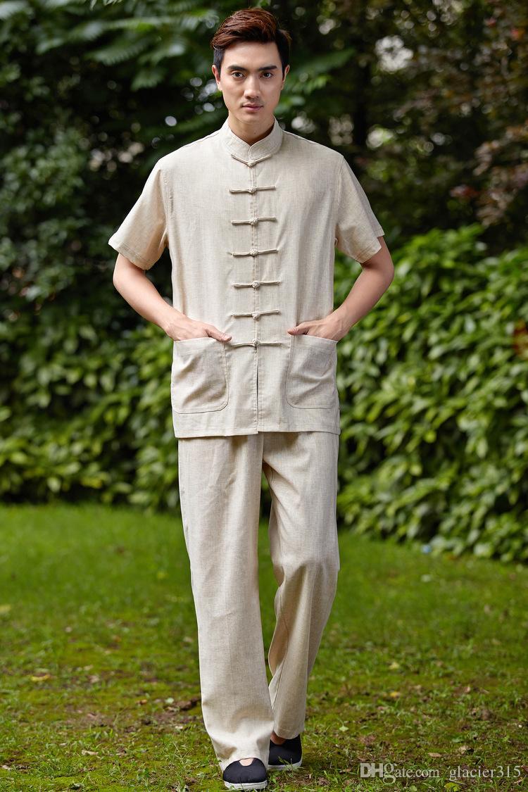 História de Xangai artes marciais chinês kung fu set homens chineses Tai chi terno camisa curta + calças de linho uniforme de kungfu 4 cores 2525