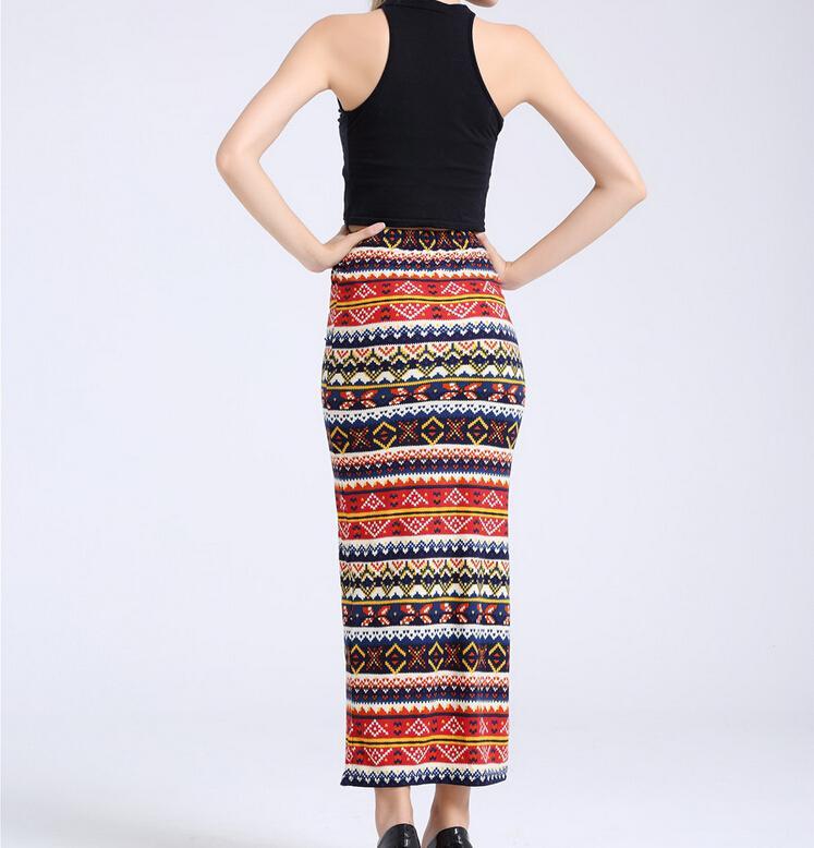2016 Nouveau Mode Femmes Vêtements Retro Ethnique Rouge Imprimé Aztec Tilde Jupes Taille Haute Sxey Maxi Jupe Mince Longue Jupes Femmes