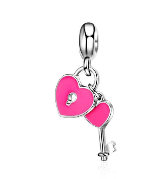 Color Drip Key with a Lock Combination Small Pendant DIY Necklace Charm Accessories European Style Series for Mother's Day Gift