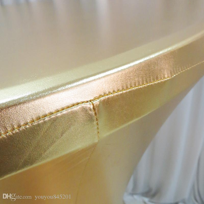 80cm Dia* 110 cm Tall Gilded Gilt Metallic Bronzing Elastic Spandex Strech Cocktail Table Cover Cloth